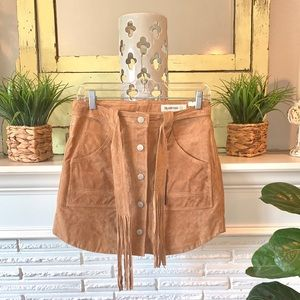 Blank NYC Tan Suede Button Front Mini Skirt